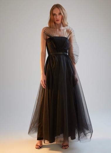 morhipoxsudi etuz Pilise Tül Yakalı Maksi Elbise Siyah